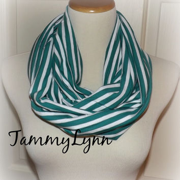 Kelly Green and White Stripe Infinity Scarf Jersey Blend Knit Double Loop Soft Women's Accessories