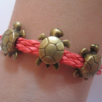 Antiqued Bronze Turtles Bracelet / Watermelon Red Braids