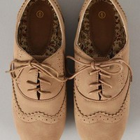 Rosy-3 Perforated Lace Up Oxford Flat