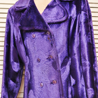 Ladies Vintage Faux Fur Coat 70s Electric Purple Sculptured Double Button Front Lined with Pockets Pop Rock Star Theatre Costume