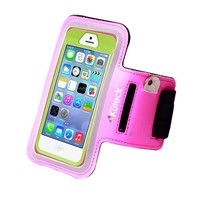 Hot Pink Polka Dot Leather Sport Armband for OtterBox iPhone 5 / 5s / 5c Defender / Commuter Series Cases