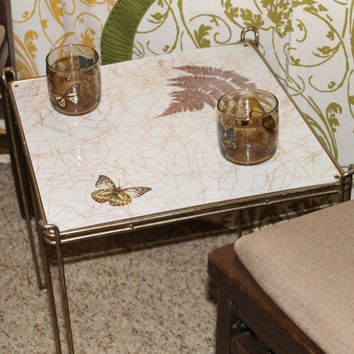 Vintage Brass Table with Cream Sparkly Top with Butterfly and Fern Leaf Accent