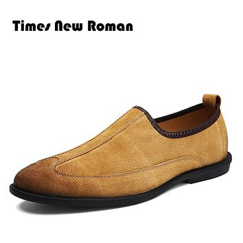 Times New Roman Genuine Leather Men Oxford Shoes Classical Slip on Casual  Men Shoes