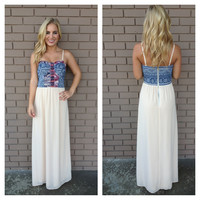 Denim Blue Print & Beige Chiffon Maxi Dress