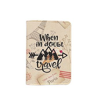 When In Doubt Travel Paris Leather Passport Cover - Vintage Passport Wallet - Travel Accessory Gift - Wallet for Women and Men _Mishkaa
