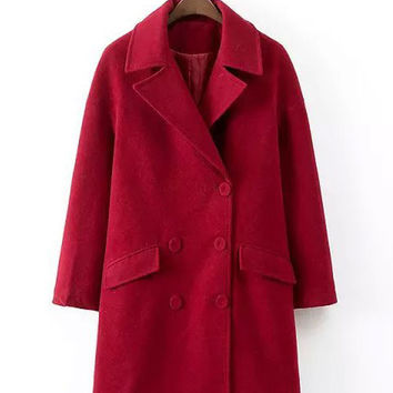 Red Double-Breasted Wool Coat
