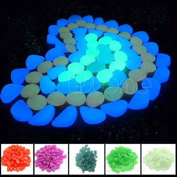 Garden Ornaments 100PCS Glow in the Dark Luminous Pebbles Stones Fish Tank Aquarium Party Event Supplies Decor