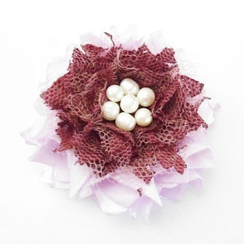 Purple Lace Fabric Flower Hair Accessories, Lilac Floral Hair Clips, Lavender Flower Hair Pieces with Pearls for Girls, Women, Gifts