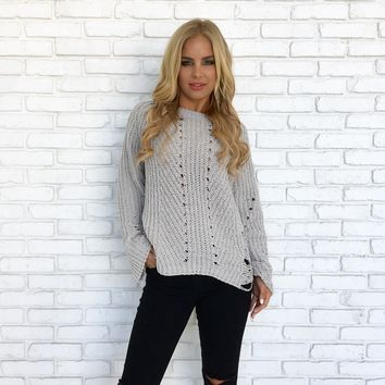 Skyfall Distressed Plush Knit Sweater