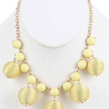 Yellow Color Cord Wrapped Chunky Ball Bubble Bib Necklace