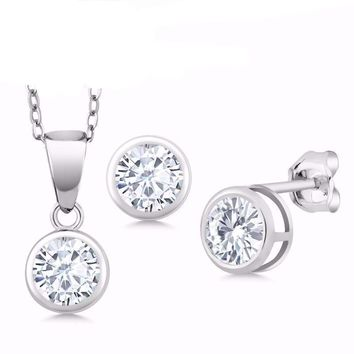 1.50 Ct White Created Moissanite 925 Silver Pendant With Chain  & Earrings Set