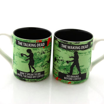 walking dead zombie mug set, can be personalized, waking dead, talking dead, mr and mrs mugs