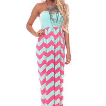 Mint and Neon Pink Chevron Bow Back Maxi