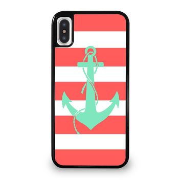 CORAL AND MINT STRIP ANCHOR iPhone 5/5S/SE 5C 6/6S 7 8 Plus X/XS Max XR Case Cover