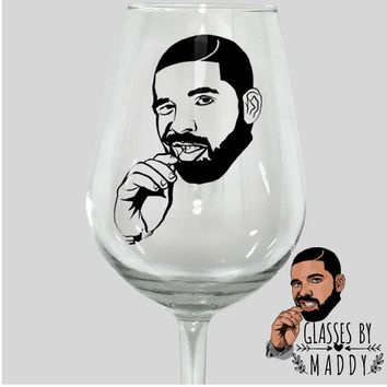 Drake Drizzy 6 God  Champange Papi Red Wine Glass Weeknd J cole