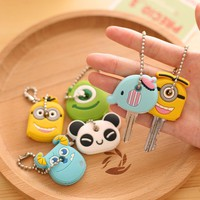suti High quality Kawaii Cartoon Animal Silicone Key Caps Covers Keys Keychain Case Shell Novelty Item KCS