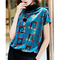 Fendi Summer New Fashion More Letter Print Leisure Top Women Blue