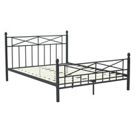 Queen size Matte Black Metal Platform Bed Frame with Headboard Footboard and Wooden Slats
