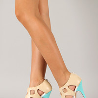 Level Two Tone Caged Cut Out Open Toe Heel