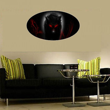 Shadow wolf digital full color red black removable reusable vinyl decor wall decal, Halloween wall sticker, wolf lover DIY gift idea