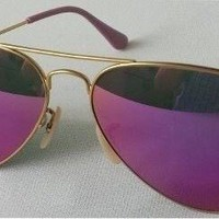 Cheap RayBan Aviator Gold Frame Pink Purple Lens Mirrored RB3025 112/68F 58MM NEW outlet