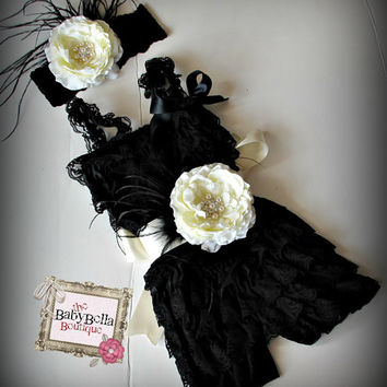 BLACK Posh  Lace   Pettirompers  sash and by TheBabyBellaBoutique
