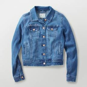 Women's Embroidered Denim Jacket - A New Day™ Dark Indigo