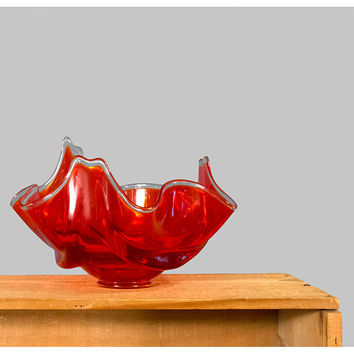 SALE, Vintage Mid Century Viking Glass Bowl, 1960s Retro Modern Free Form Pulled Glass Dish, 60s Red Orange Art Glass Bowl, Home Decor