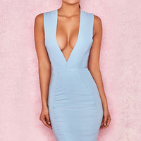 Clothing : Structured Dresses : 'Selma' Powder Blue Crepe Plunge Front Dress