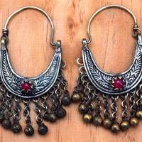Afghan Kuchi Earrings,Ethnic Tribal Earrings,Kuchi Jewelry,Bohemian Carved Earrings,Antique,Hippie,Belly Dance Earrings,Boho Gypsy Earrings