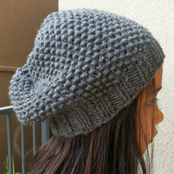 Hand Knit Simply Slightly Slouchy Beanie Hat Available in a Variety of Colors Fits Adult and Children 10+