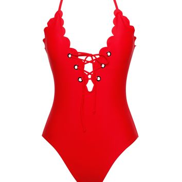 Antigua Low Cut V Red Detail Criss Cross One Piece Swimsuit
