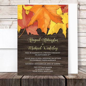 Autumn Reception Only Invitations - Rustic Leaves and Wood - Fall Post-Wedding Reception - Printed Invitations