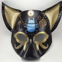 Steampunk Egyptian Leather Cat Goddess Masquerade Mask Cosplay Priestess LARP Costume