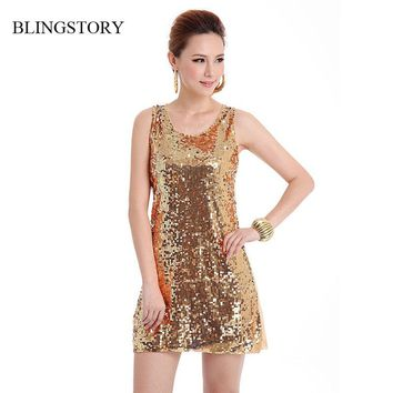 BLINGSTORY European style beautiful shinning Bling-Bling Sequin lady club dress, Russian apparel vestidos Dropshipping