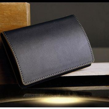 Magnetic lock Genuine Leather bussiness namecard case ID card bank card holder box organizer wallet