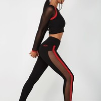 Contrast Mesh Panelled Legging - Black