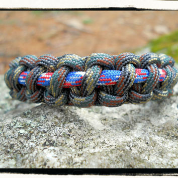 Camo Red White Blue Paracord Survival Bracelet
