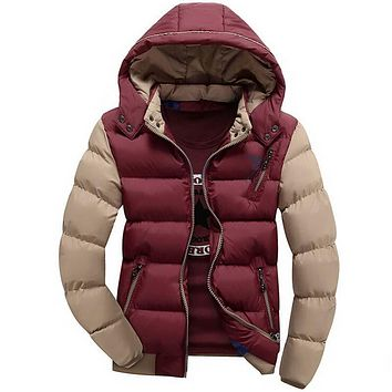 New Men's Down Jacket Warm Cotton-padded Anorak Mens Casual Hooded Jackets Handsome Combat Thicking Parka Male Campera Coat Red