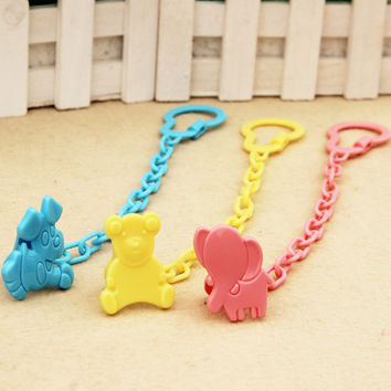 Baby Infant Dummy Pacifier Soother Chain Clip Holder Toddler Cartoon Pattern