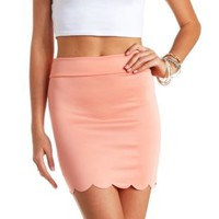 Scalloped Bodycon Mini Skirt by Charlotte Russe - Peach