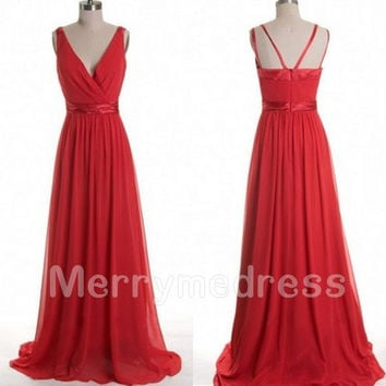 Red V-neck Spaghetti Straps LAce-up Long Bridesmaid Celebrity Dress,Court train Chiffon Formal Evening Party Prom Dress Homecoming Dress