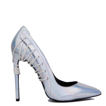 Lust For Life Krayzie Leather Corset Pointed Toe Pumps - Silver Iridescent