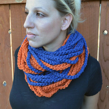 Monaco blue and Tangerine chunky crocheted loop infinity scarf, cowl, chain necklace
