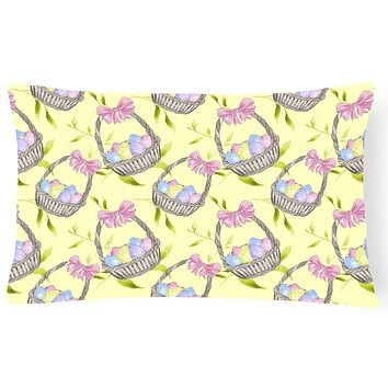Easter Basket and Eggs Canvas Fabric Decorative Pillow BB7490PW1216