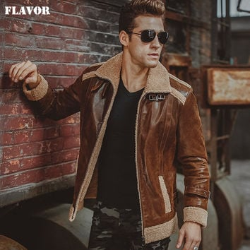 Men's real leather jacket motorcycle Genuine Leather faux fur shear ling jackets winter warm bomber coat men