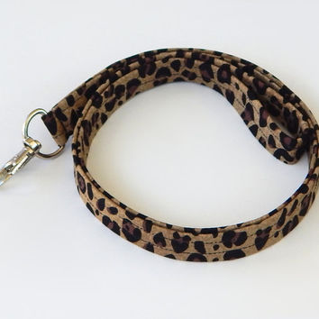 Leopard Print Lanyard / Leopard Keychain / Animal Print / Key Lanyard / ID Badge Holder / Badge Lanyard / Fabric Lanyard