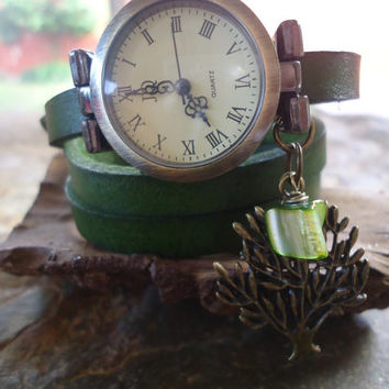 WATCH, green LEATHER and PEARL, wrap clock