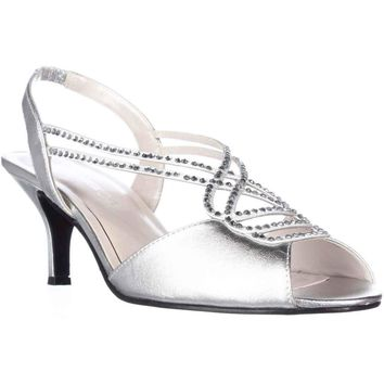 Caparros Philomena Gemmed Slingback Dress Sandals, Silver Metallic, 8 US