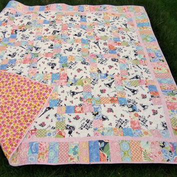 Baby Kisses Paris Fabric Lap Quilt, One of a Kind 60 x 60 quilt in pink, orange, blue patchwork blanket, sofa throw, couch quilt